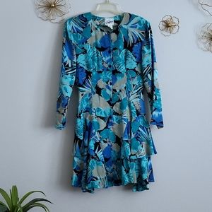 Rampage Vintage Blue Abstract Print Ruffle Dress